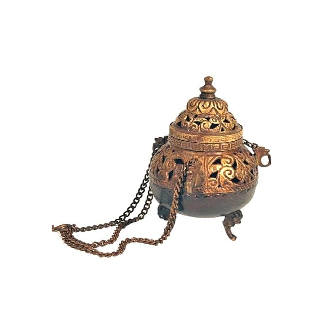 Church Style Antique Brass Finish Hanging Incense Burner 14cm