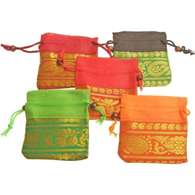 Tibetan Spirits Tibetan Brightly Colourful Square Drawstring Pouch 8.5 x 6cm (Sold Indivually - Colour randomly selected)