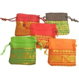 Tibetan Brightly Colourful Square Drawstring Pouch (Various Colours - 8.5 x 6cm)