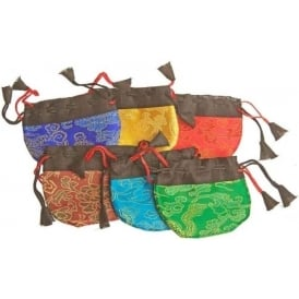 Tibetan Brightly Hemispherical Colourful Drawstring Pouch 7 x 7cm (Sold Indivually - Colour randomly selected)