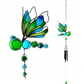 Dragon Fly Springed Wind Chime - Large Blue & Green - 85cm