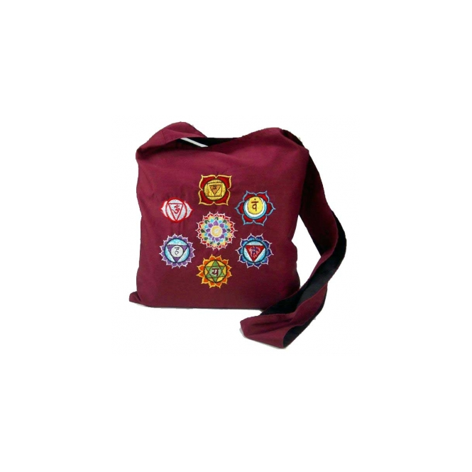 Embroidered Chakra Symbol Bordeaux Shoulder Bag - Aprox 30cm x 30cm