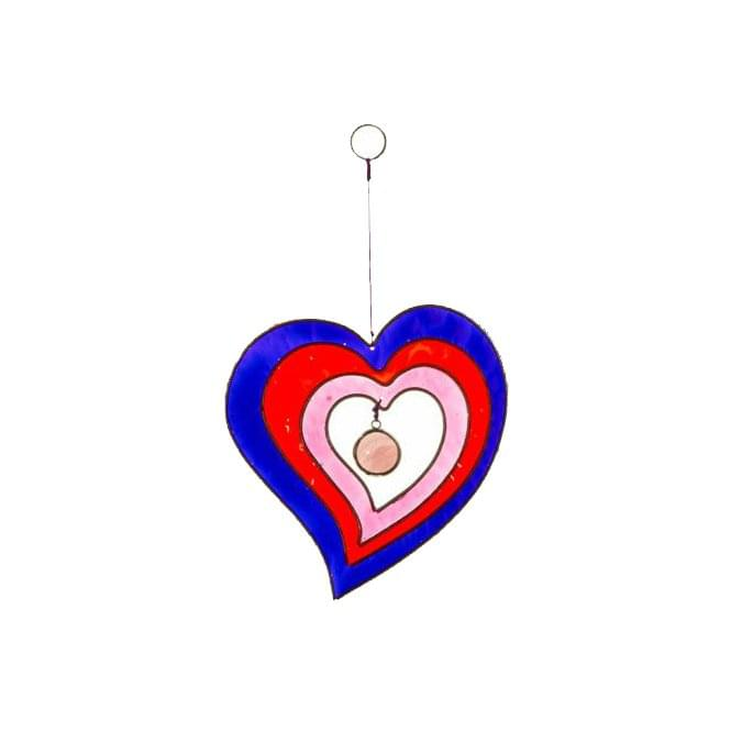 Heart Hanging Suncatcher - Purple, Red & Pink 11.5 cm