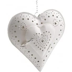 Heart Hanging Tealight Candle Holder (LARGE) Cream 18cm