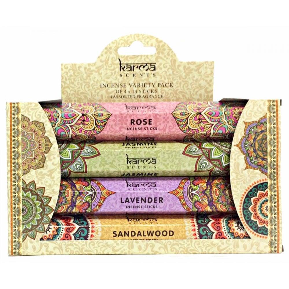 Sandalwood Lavender Jasmine Karma Scents Incense Sticks 4 Scents:Rose