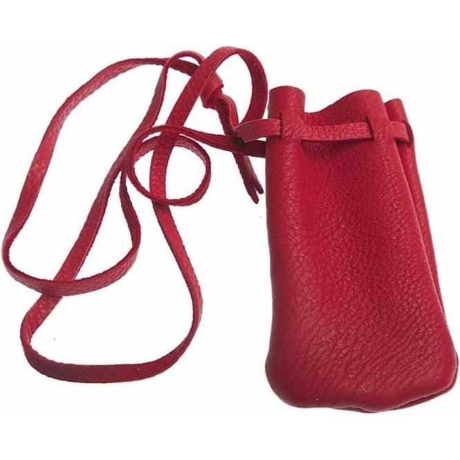 Native American Indian Hand Made Leather Pouch (s) Red 2