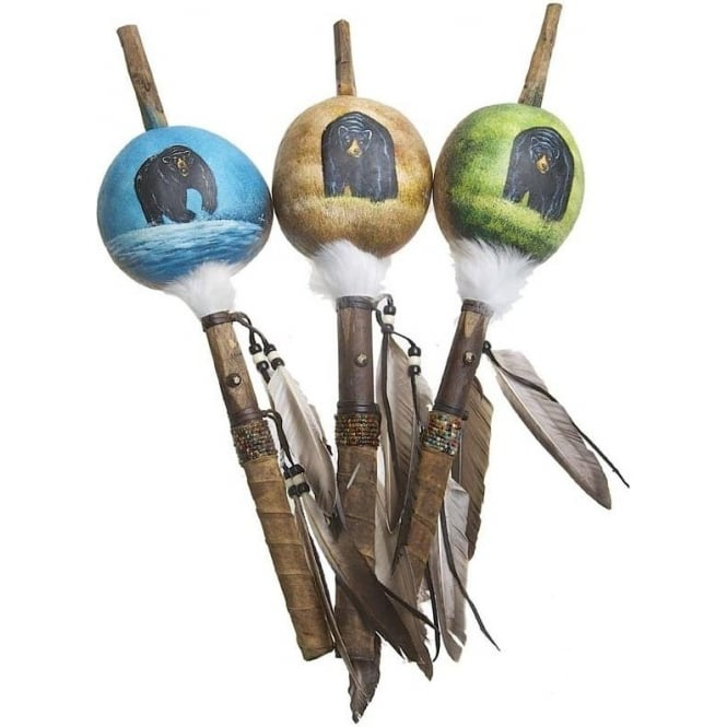 Native American Indian Mimbres Bear Talking Stick Gourd Rattle (XL) (Mixed Designs sold individually)