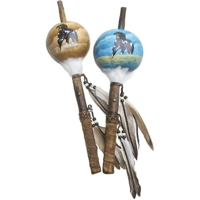 Native American Indian Mimbres Horse Talking Stick Gourd Rattle (XLARGE) (Mixed Designs sold individually)