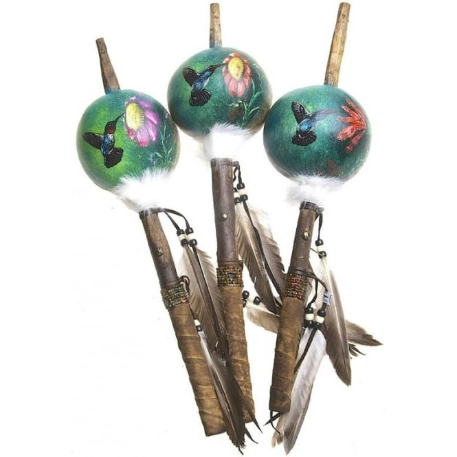 Native American Indian Mimbres Hummingbird Talking Stick Gourd Rattle (XLARGE) (Mixed Designs sold individually)