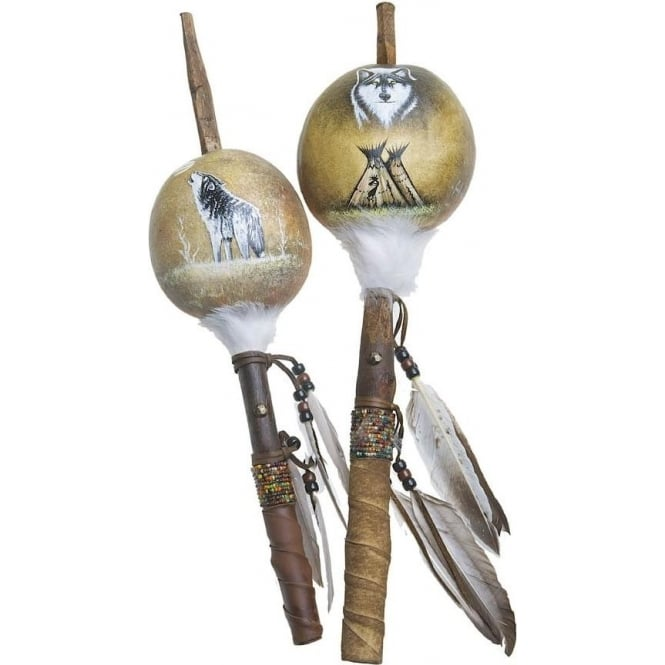 Native American Indian Mimbres Wolf Talking Stick Gourd Rattle (XL) (Mixed Designs sold individually)