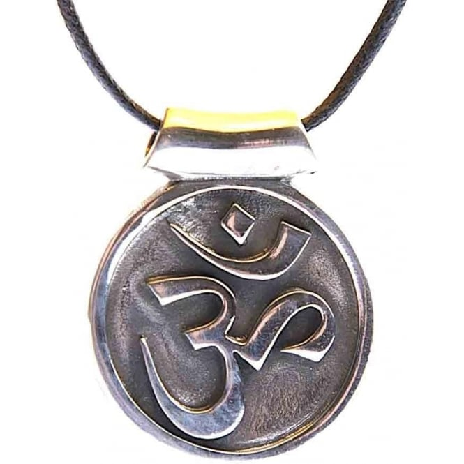 Native American Indian Pewter Veda OM Pendant Necklace