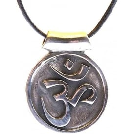 Pewter Veda OM Pendant Necklace