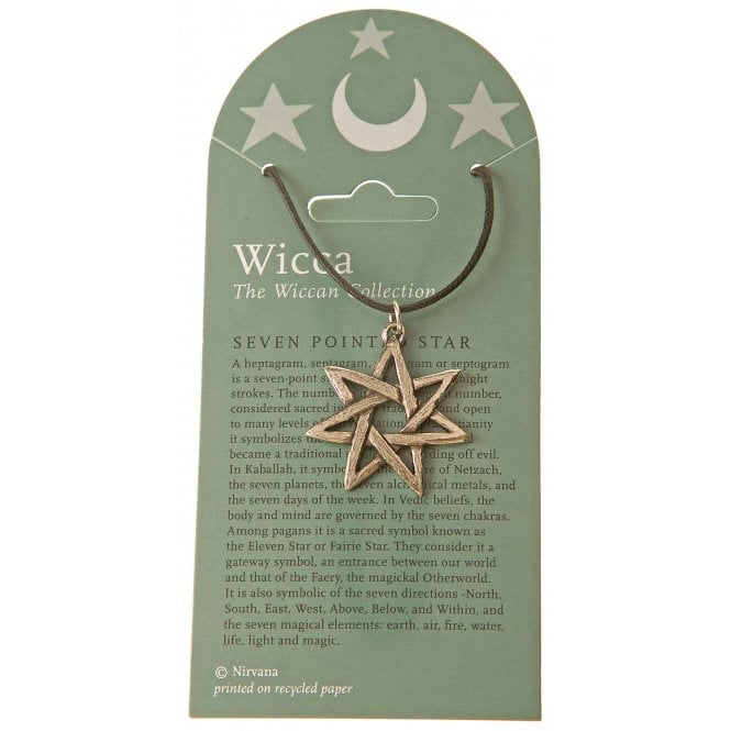 Native American Indian Wicca Seven Pointed Star Pewter Pendant Necklace 30mm