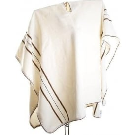 Alpaca White Poncho - Brown Black Stripes