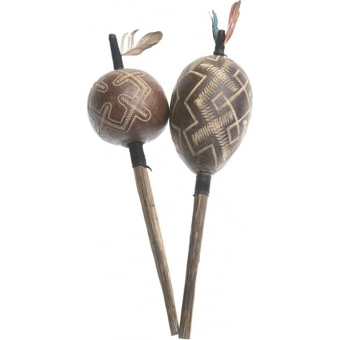 Peruvian Amazon Shipibo Jungle Rattle - Life, Death & Renew Symbol (M) Black (Sold individually)