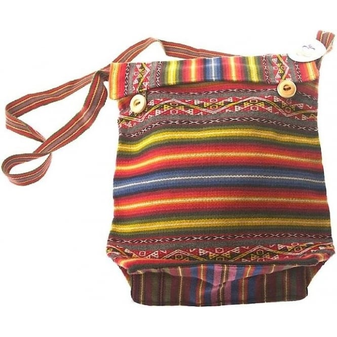 Peruvian Chinchero Alpaca Bag Uni-Sex (Button Top Flap) CHIN7