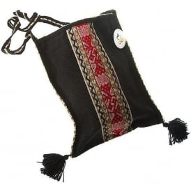Chinchero Black Red High Quality Fine Alpaca Shoulder Bag Uni-Sex (CC-8)