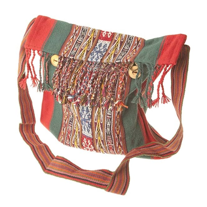 Peruvian Chinchero Fine Alpaca Uni-Sex Shoulder Bag (Tassel Button Closure) CC-08