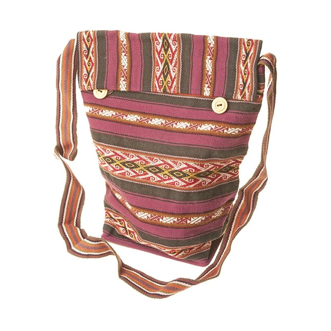 Peruvian Chinchero Fine Alpaca Unisex Shoulder Bag (Lined with Button Flap) CC-07