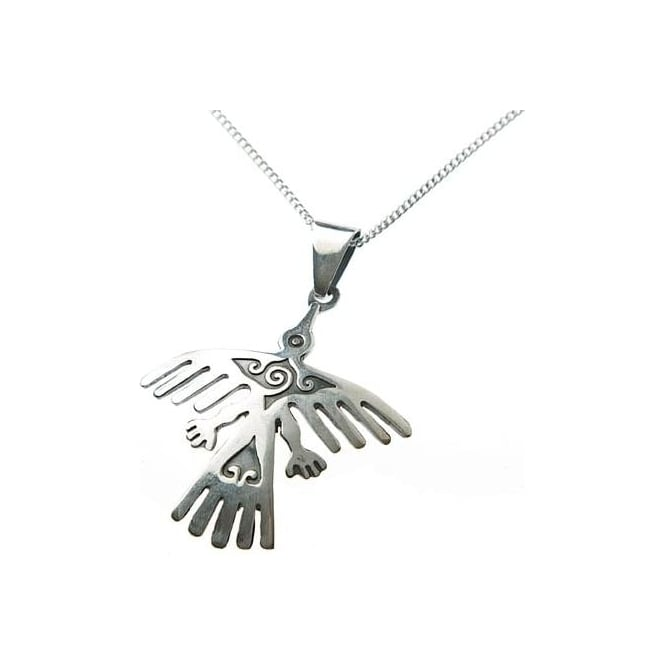 Peruvian Nazca Lines Eagle Condor with 22 silver chain