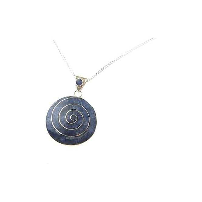 Peruvian Pachamama Earth Spiral Of Life Necklace Blue