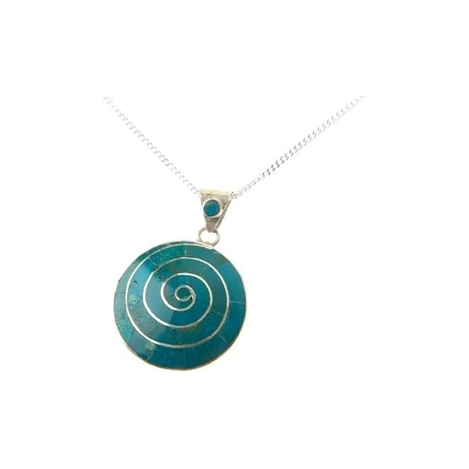 Peruvian Pachamama Earth Spiral Of Life Necklace Green