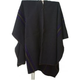 Peruvian Shaman's Alpaca Black Poncho - Brown & Blue Stripes