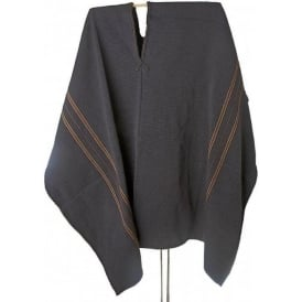 Peruvian Shaman's Alpaca Black Poncho - Brown Stripes (STD)