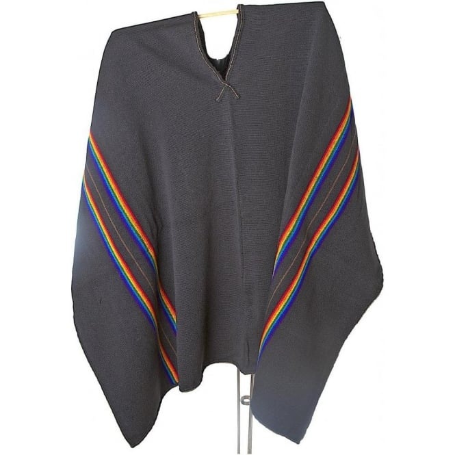 Peruvian Shaman's Alpaca Poncho Black with Rainbow & Brown Stripe
