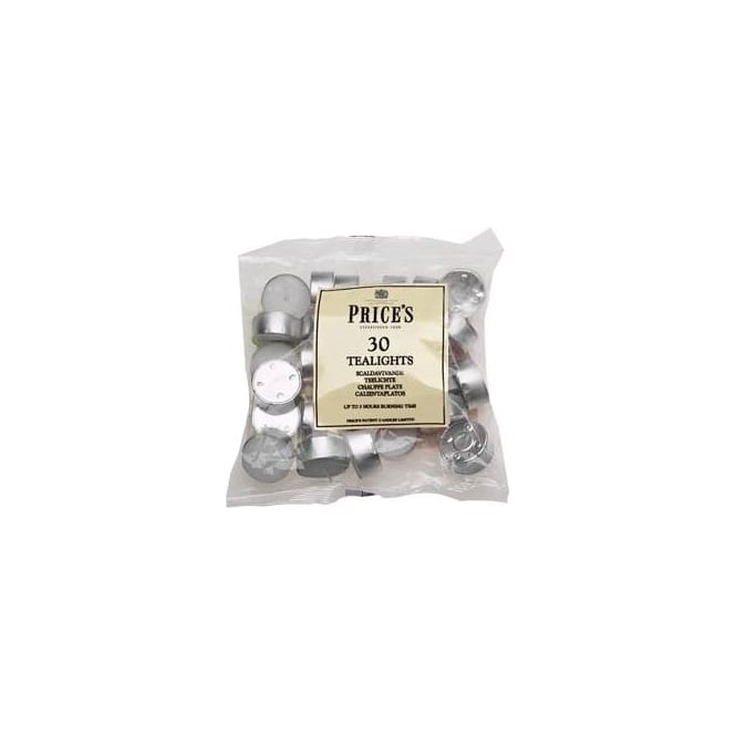 Price's British Quality Candle Makers High Quality White Tealights 30 Pack (Up to 5 hrs)