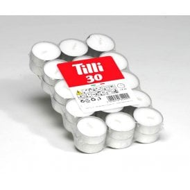 White Tealights 30 Pack (4 hrs)