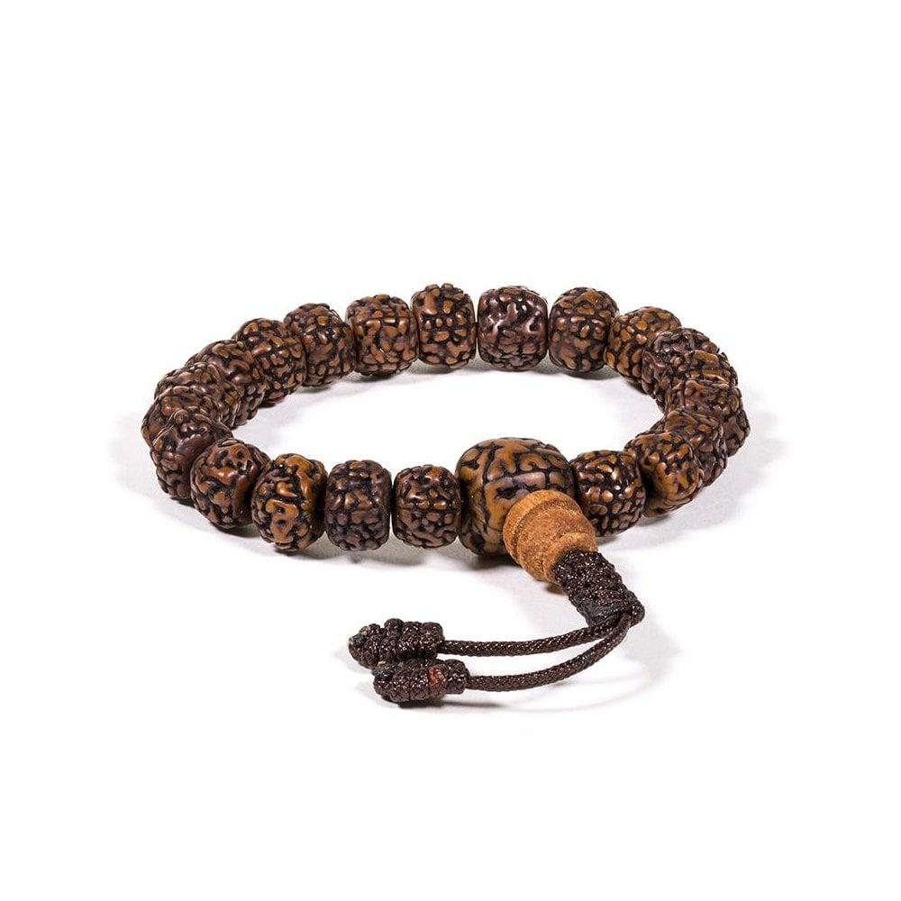 Polished Rudraksha Mala 21ct Bead Bracelet 8mm