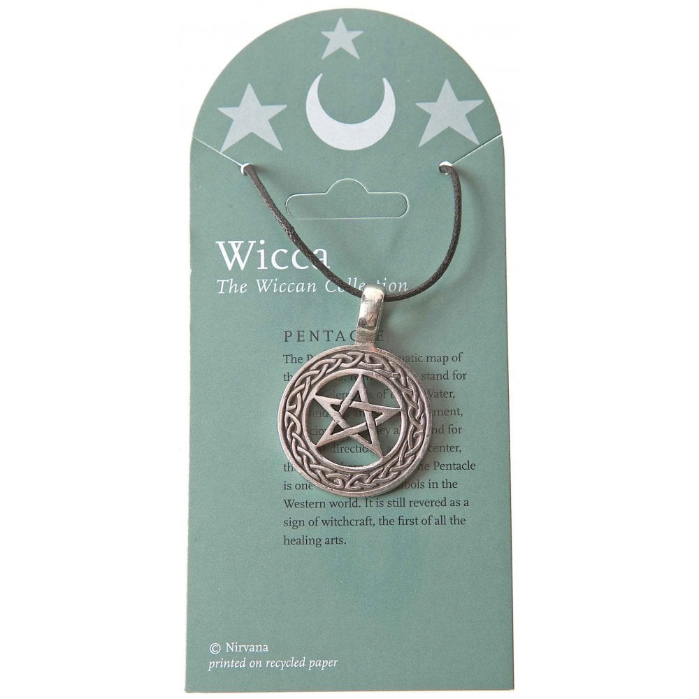 Wicca Pentacle Five Pointed Star Pewter Pendant Necklace 30mm