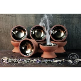 Hand Made Incense Burner Censer Dish With Gold Glazed Top (9cm)