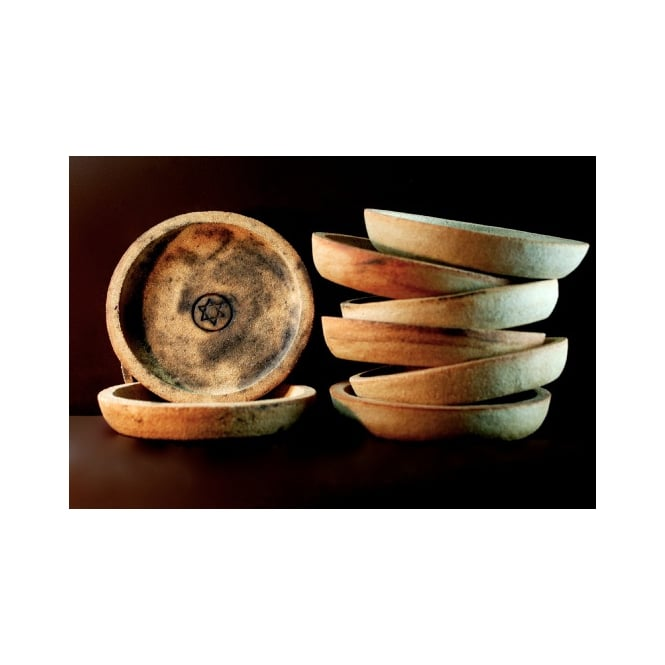 Star Child Rustic Fired Round Incense Offering Dish (17cm)