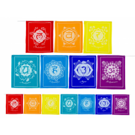 Chakra Prayer Flag String (21×21 cm x 1600cm)