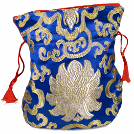 Mala Brocade Lotus Bag - Blue (19cm x 16cm)