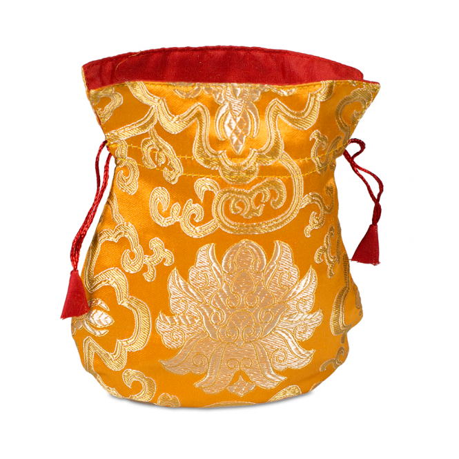 Tibetan Spirits Mala Brocade Lotus Bag - Orange (19cm x 16cm)