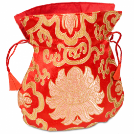 Mala Brocade Lotus Bag - Red (19cm x 16cm)