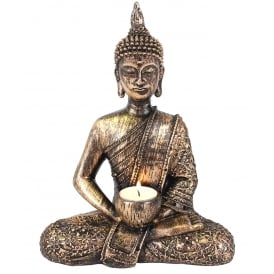 Sitting Thai Buddha Tealight Holder H:27cm W:20cm D:10cm