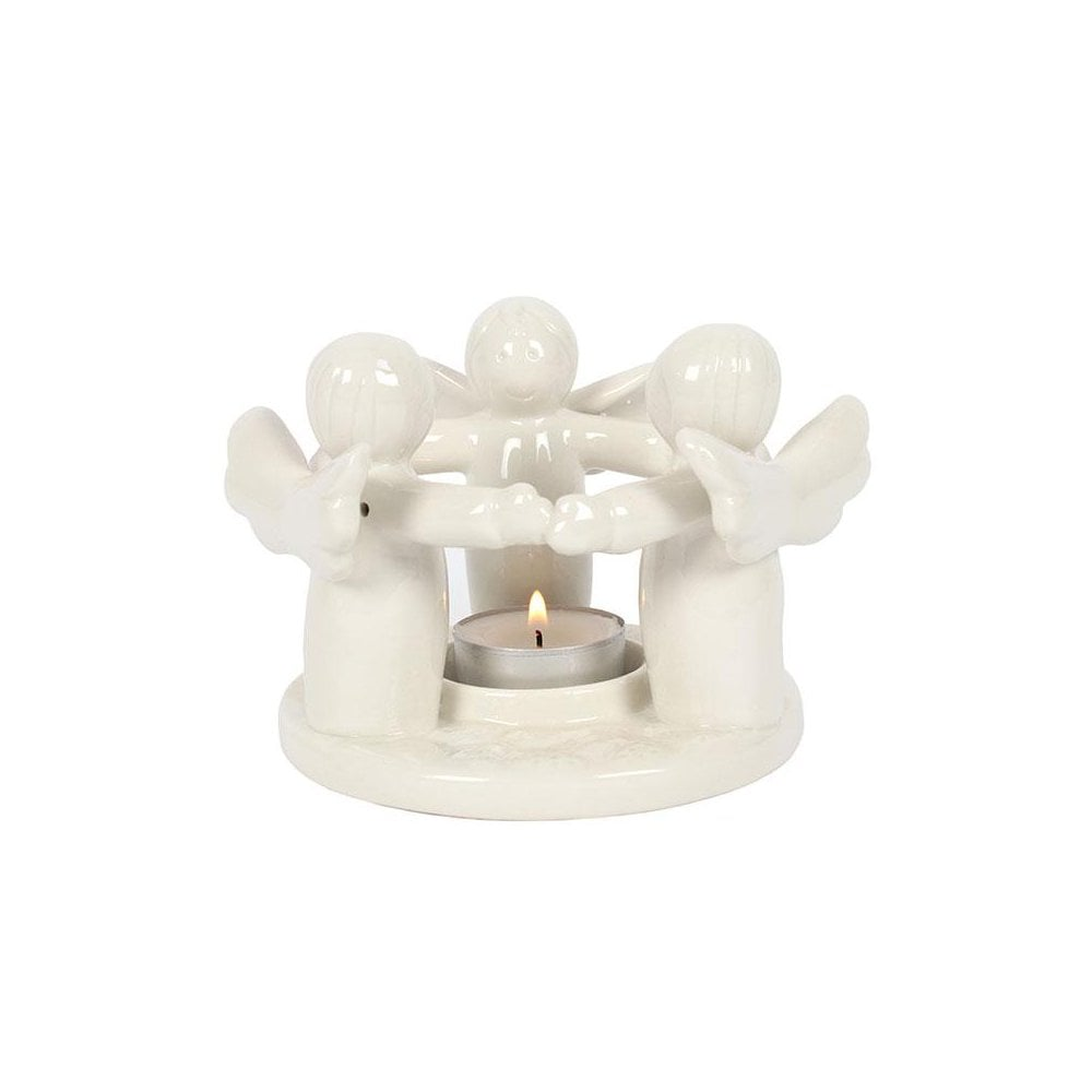 White angel candle holder 9 5cm