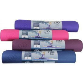 Ecological Blue/Grey Evolution Yoga Mat 4mm - with Carry String
